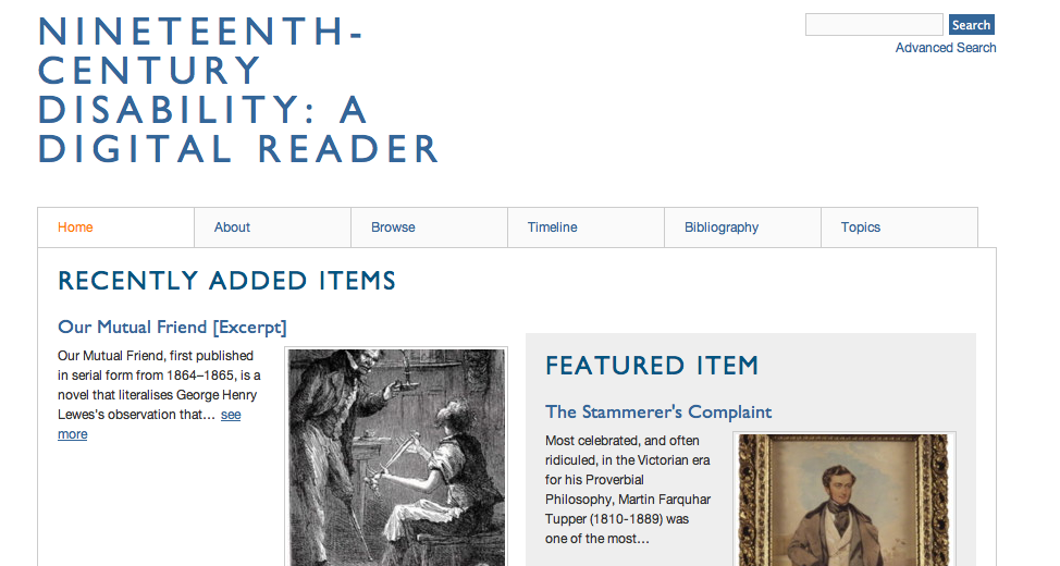 Screenshot of home page of Nineteenth-Century Disability:  A Digital Reader